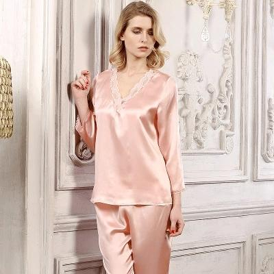 Free shipping 100% mulberry silk ladies Pajamas Sets Lace Sleepwear Nine Points Sleeves Tops Pants Nightclothes Nightdress Nighties Lingerie