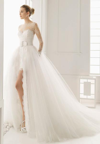 Rosa Clara Wedding Dresses Duero High Slits Illusion Long Sleeves