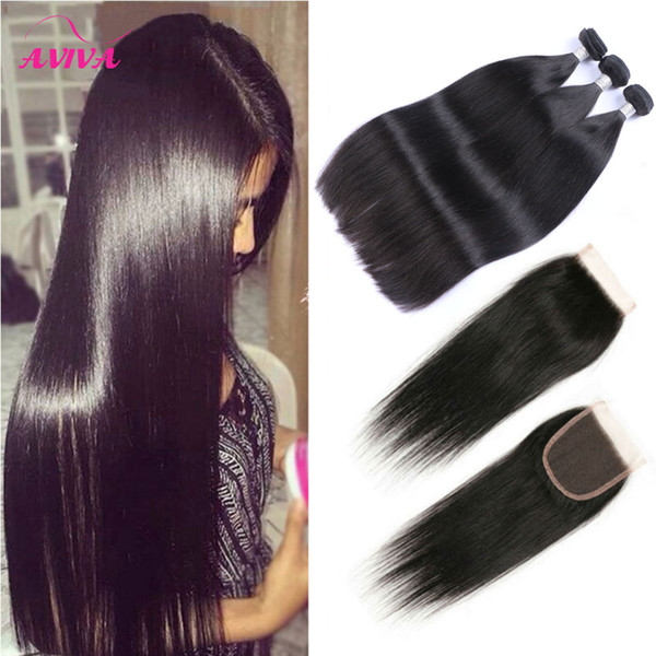 top popular Brazilian Straight Virgin Hair Weaves 3 Bundles with Lace Closures 8A Grade Unprocessed Malaysian Peruvian Indian Cambodian Remy Human Hair 2021