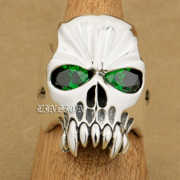 LINSION Huge Heavy 925 Sterling Silver Green CZ Eyes Skull Mens Biker Rocker Punk Ring 9M304 US Size 7~15