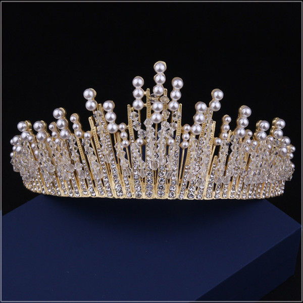 New Luxurious Crystal Pearl Wedding Bridal Accessories 2017 Latest High Quality Bridal Tiara Crowns Free Shipping