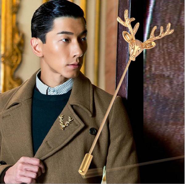 Men Retro Deer Head Horn Elk Antler Stag Lapel Stick Pin Tie Hat Scarf Brooch for father boyfirend birthday gift