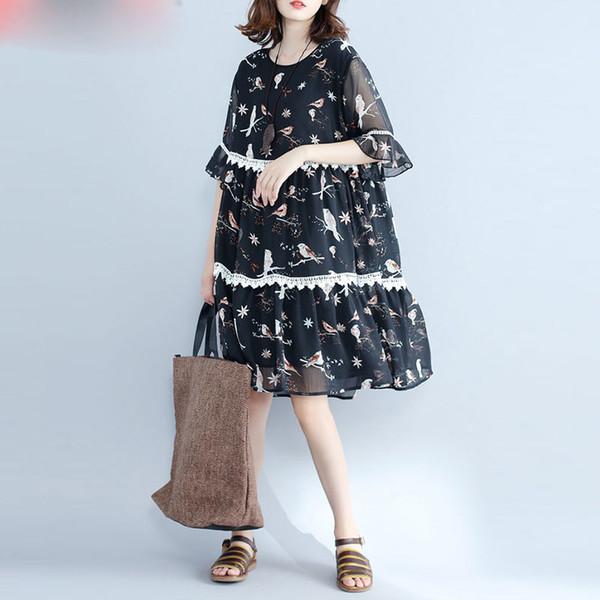 Kadın Elbise Artı Boyutu Yaz Plaj Elbiseleri Şifon Kuş Baskı Siyah Patchwork Kadın Moda Casual Midi Lady Elbiseler