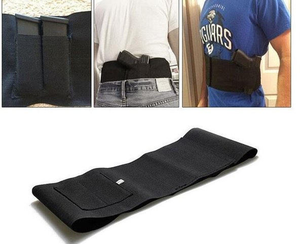 best selling Tactical adjustable belly band waist pistol gun holster with 2 mag pouches bag