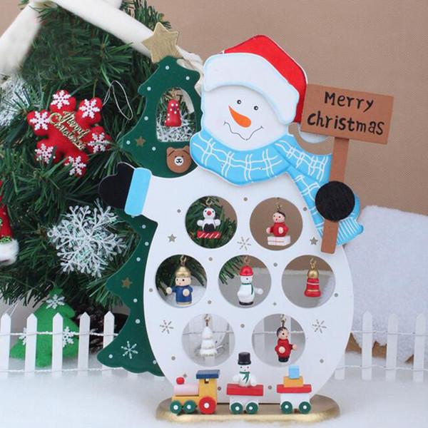 Vente en gros - Cadeau de Noël Père Noël Bonhomme de neige Ornements Bureau Décoration de table Bois Artisanat Jouets Maison de vacances Décoration de Noël R121