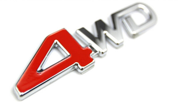 5pcs 3D ABS Chrome 4WD Emblem Badge Sticker 4WD Decal Accessories Sport Stickers For Toyota Highlander For NISSAN X-Trail Xtrail
