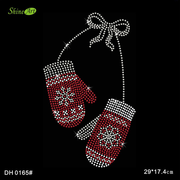 Free shipping Twisted Envy Christmas Mittens Crystal Iron On T Shirt Design Transfer DIY DH0165#