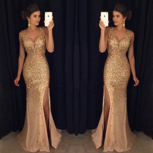 Großhandel Gold Sparkly Strass Kristall Prom Kleider Sexy Tiefe V ...