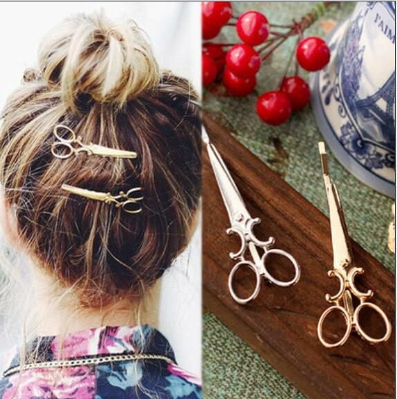 best selling Cool Simple Head Jewelry Hair Pin Gold Scissors Shears Clip For Hair Tiara Barrettes Accessories wholesale small gifts free shipping