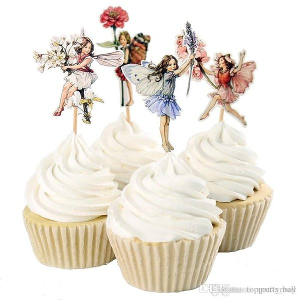 48 stücke Flower Fairy Cupcake Toppers Picks für Geburtstag Dekorationen Neujahr Ostern Halloween Party Kuchen Dekoration Gunsten
