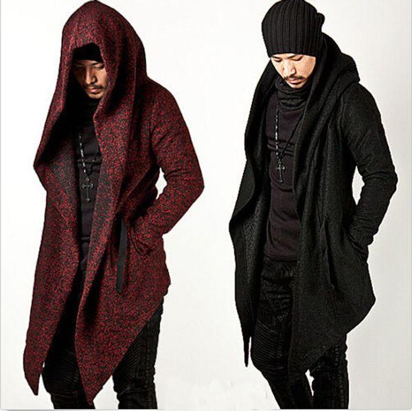 Wholesale- 2017 Avant Garde Men's Fashion Tops Jacket Outwear Hood Cape Coat Mens Cloak Clothing (Black/Red) M-2XL