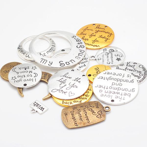 Vintage Cameo Mixed Alphabet Lettre Charms pour la fabrication de bijoux DIY Main Metal Lettre Pendentif Charms 15pcs / lot C8750