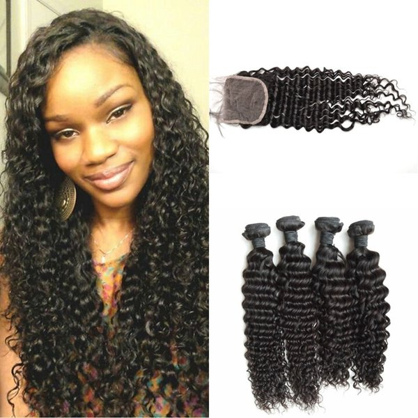 Virgin Peruvian Human Hair Weave Bundles And Closure 5pcs Lot Natural Black Unprocessed Peruvian Deep Wave Lace Closure With Baby Hair