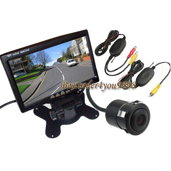 "Wireless Mini Reversing Camera 170° Angle Waterproof + 7"" TFT LCD Monitor Car Rear View Kit Free Shipping"