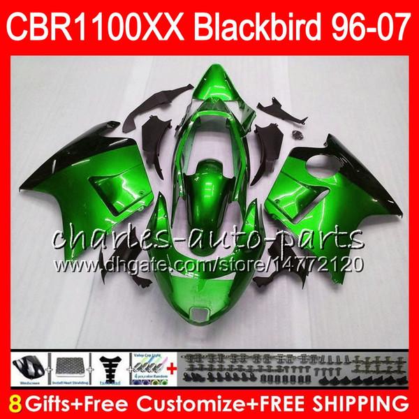 Body For HONDA Blackbird green black CBR1100 XX CBR1100XX 02 03 04 05 06 07 81NO69 CBR 1100 XX 1100XX 2002 2003 2004 2005 2006 2007 Fairing
