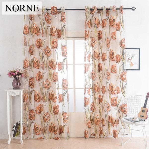 Norne Drapes Window Grommet Sheer Curtains Voiles Panel for Living Room the Bedroom Kitchen Modern Tulle Curtain Floral Pattern Fabric