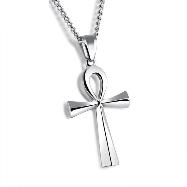 Egyptian Jewelry Stainless Steel Ankh Cross Pendant Necklace New design Black Silver Gold Plated Men's Women Christian Religious gifts
