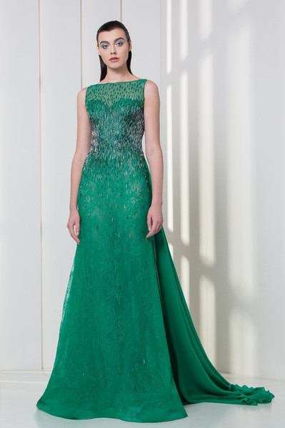 Emerald Georgette Crepe And Lace Evening Dresses 2018 Tony Ward ...