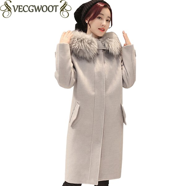 Großhandel 2017 Herbst Winter Neue Mode Schlanke Wollmantel Frauen Pelzkragen Lange Mit Kapuze Wollmantel Frauen Einfarbig Große Größe Mantel X932
