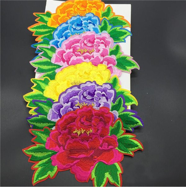 20pcs Iron On Patch For Clothing Peony Flower Sticker Patches parches Embroidered Dancing Dress Backing Apparel Motif Stage Badge Appliqued