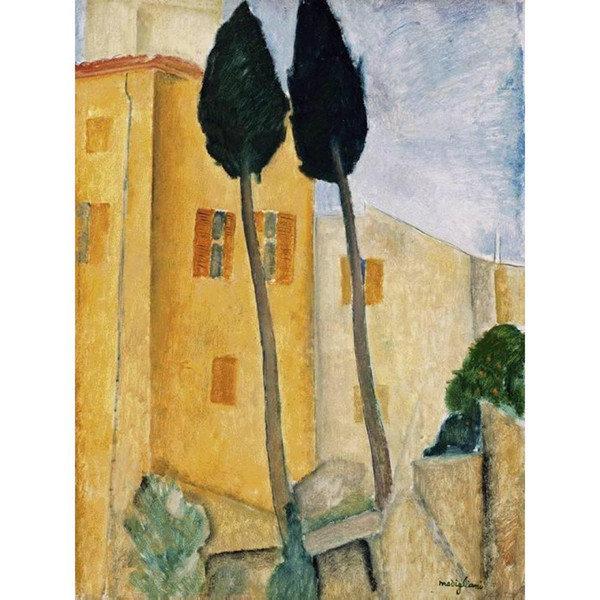 Cypress Trees and Houses Midday Landscape hand painted Landscapes oil painting reproduction abstract art wall decor
