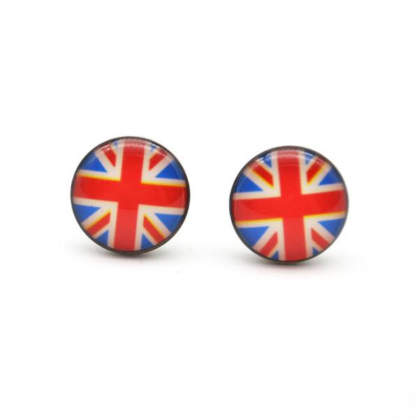 New Arrival UK Motifs Ear Stud Earrings Ear Nail PIN 316l Stainless steel10mm No Fade No Allergies Union Jack Fashion Jewelry
