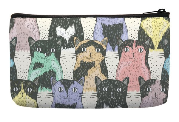 Wholesale- Cartoon Cute Cat Seamless Pop Art Print Customized Small Cosmetic Bag Wristlet hand bag Makeup Bags