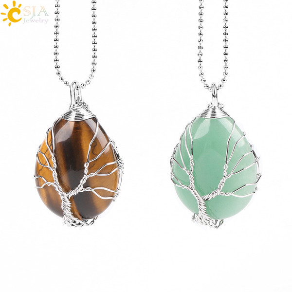 CSJA Handmade Summer Water Drop Shaped Slide Pendant Necklace Gold Silver Wire Wrapped Charms Jewelry Wisdom Tree of Life Jewellery E585 B