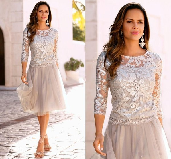 top popular Cheap Lace Mother of The Bride Dresses Tiered Tulle 3 4 Sleeves Knee Length Wedding Party Dresses A Line Mother's Dresses Custom Made 2019