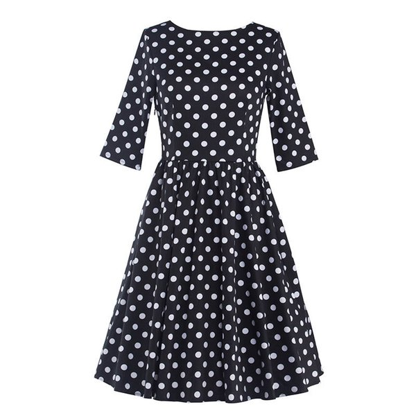 Women's Vintage Audrey Hepburn 1950s 3/4 Sleeve Polka Dots Tea Casual Slim Elegant Rockabilly Party Cocktail A-Line Dress