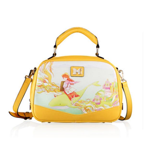 Atacado-New Fashion Estilo das Mulheres Vintage Hobos Bolsa Ombro Personalizado Cross-Body Messenger Bags PU Amarelo Mulheres Totes BH698