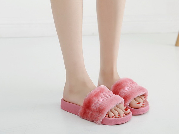 New women Cotton slippers female winter thick bottom anti-slip indoor wood floor confined wool cloth lady soft nap sandals no2