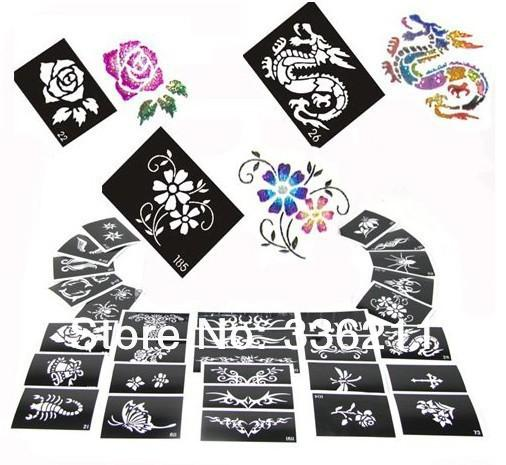 Wholesale-60pcs mixed 66styles Glitter Tattoo stencil Body Painting design airbrush Temporary Tatoo Kit template supplies Free shipping