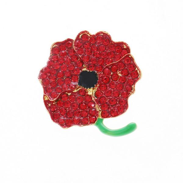Large Poppy Flower Brooch for Women Red Enamel Flower Pin Brooch