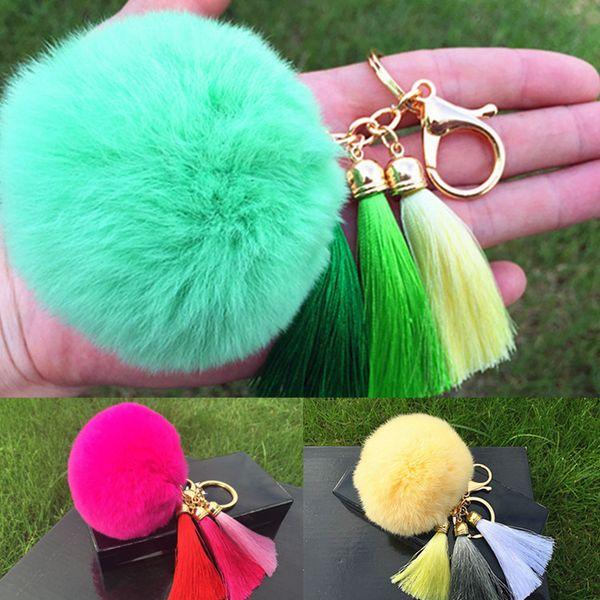 Hot sale Tassel Pompom Car Key Ring Pendant Fur Ball Keychain Rabbit Fur Plush Fur Key Chian POM POM Keychain