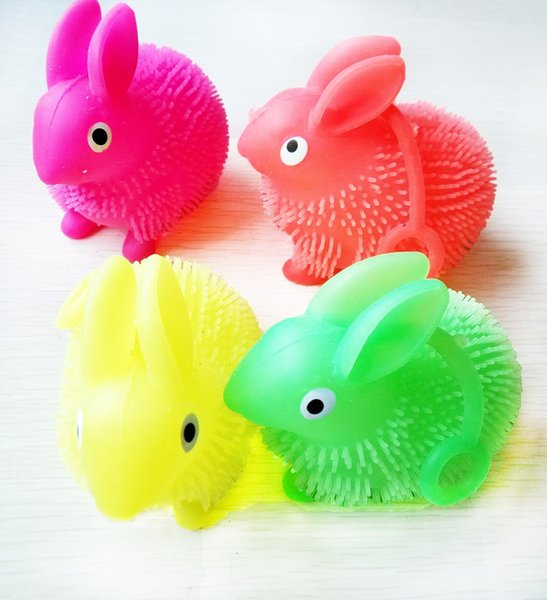 Flash light colorful rope rabbit fur ball vent ball children toy stall goods wholesale