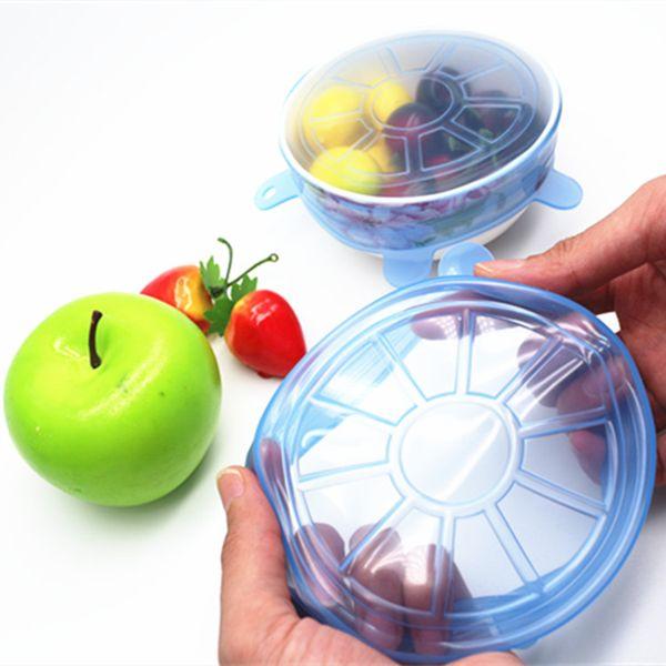 6PCS Silicone Stretch Lids Seal Bowl Wraps Covers Kitchen Food Fruit Storage UK