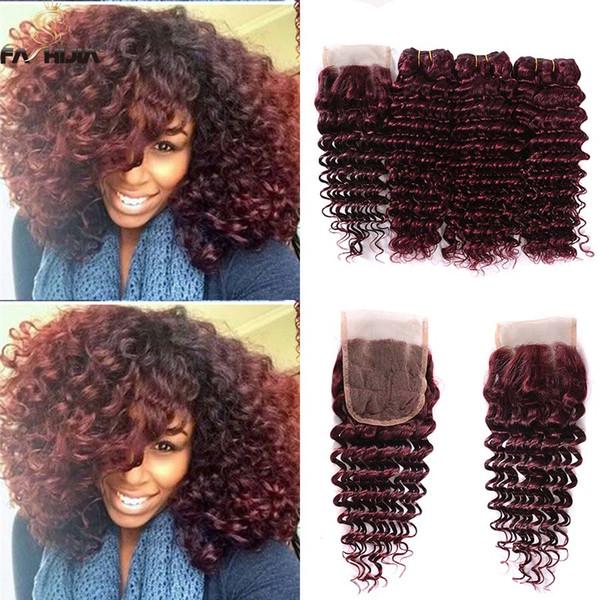 Fashijia Dark Wine Red Three Part Brazilian Deep Hair Weave Closure