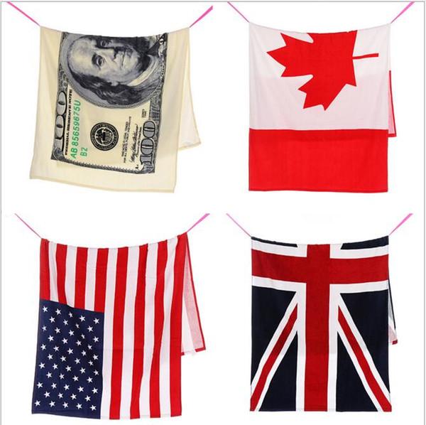 100% pamuk plaj havlusu kurutma lif mayo duş havlu ABD İNGILTERE Kanada bayrağı dolar tasarım banyo havlusu ücretsiz kargo