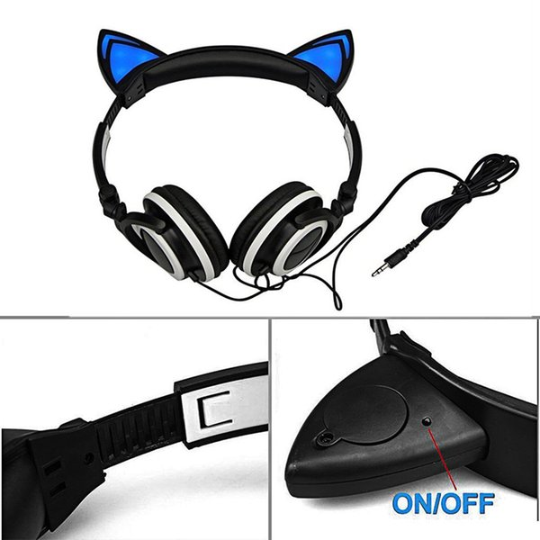 Foldable Flashing Glowing Cute Cat Ear Headphones Gaming Headset Earphone with LED light For PC Laptop Computer Mobile Phone 30pcs
