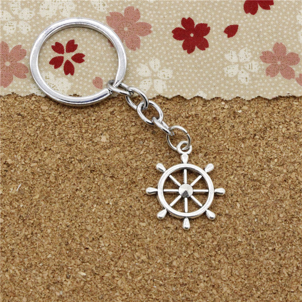 15pcs Fashion Diameter 30mm Metal Key Ring Key Chain Jewelry Antique Silver Plated ship's wheel helm rudder 28*24mm Pendant