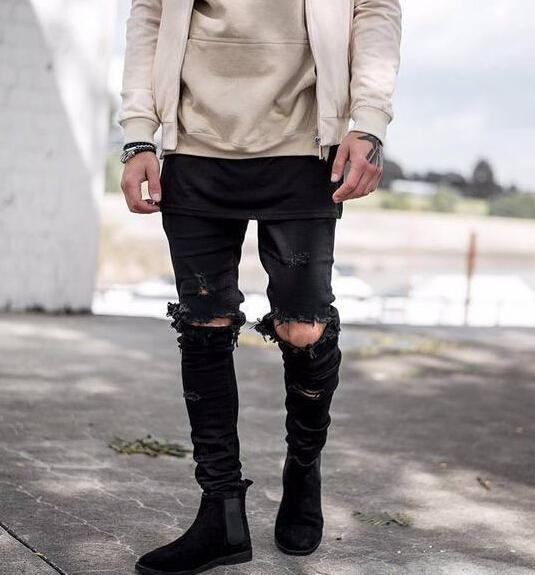 fashion clothing fit slim men jeans fashion kanye west GD style SLP ripped holes designer slim pencil pants free shipping