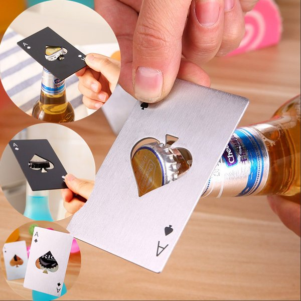 Fashion Spades credit card bottle opener creative cards form stainless steel bottle opener card bottle opener magic cool Small gifts IC573