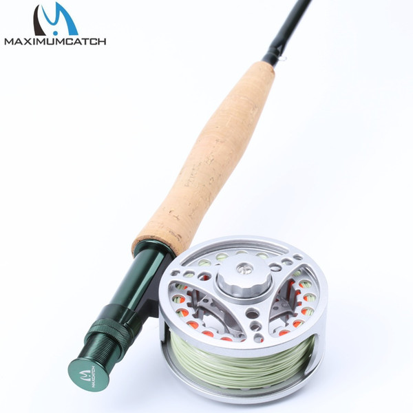 Al por mayor- Maximumcatch Extreme Fly Fishing Combo 9FT 5WT Fly Rod con gran carrete de aluminio Arbor con línea flotante WF5F