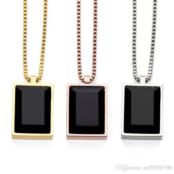 Men Simple Luxury Black Square Gem Small Pendant Necklace Crystal Rhinestone Fashion Choker Rose Gold Jewelry Men Gifts
