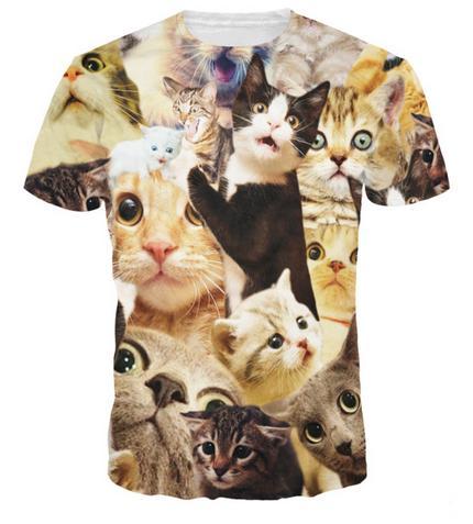 El más nuevo Popular Womens / Mens Cats Animal Mangas cortas Funny 3D Print T-shirt Summer Casual T-shirt S-5XLKK76