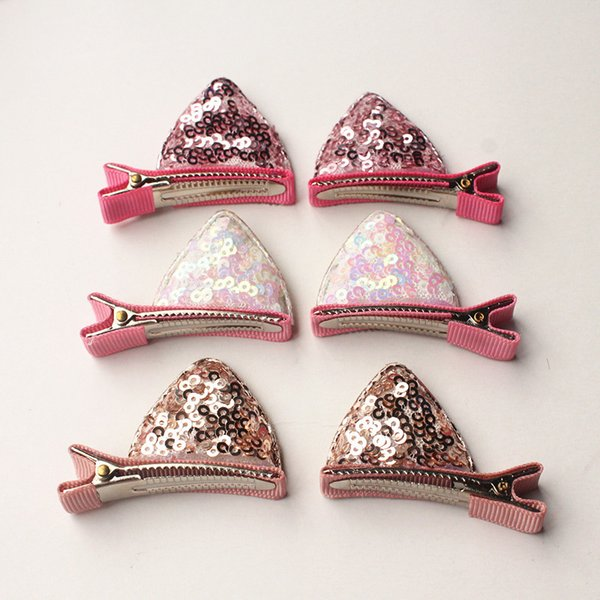2017 NEW Baby Hair clips 24pcs/lot Glitter Felt Bows Hair Clips 12pairs Girls Pink Cat Ears Hairpins Cartoon Clip