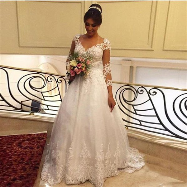New Lace Wedding Dresses White Applique Tulle Long Sleeves Winter 2017 Casamento Robe De Mariage Sexy Plus Size Wedding Bridal Gowns Cheap
