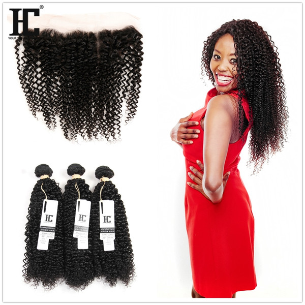 Peruvian Kinky Curly Human Hair 3 Bundles with 13x4 Lace Frontal Ear to Ear Head Natural Color Can be Dyed Unprocessed Human Hair
