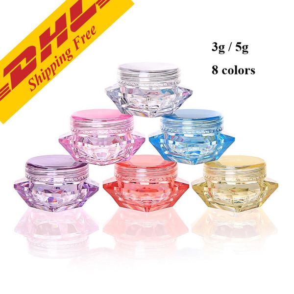 DHL FREE 3g 5g botella cuadrada transparente pequeña Cosmética Frasco vacío Olla Sombra de ojos Bálsamo labial Crema facial Contenedor de muestra 8 colores